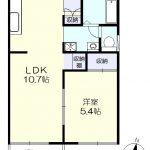 2階角部屋、南向き(間取)