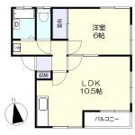 2階角部屋の1LDK(間取)