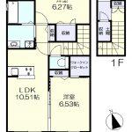 1階が専用玄関の収納豊富な2LDK(間取)