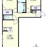 2階角部屋の2LDK(間取)