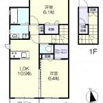 1F玄関 内階段で2F居住スペース(間取)