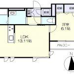 3階角部屋の1LDK(間取)