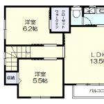 1階専用玄関の2LDK(間取)