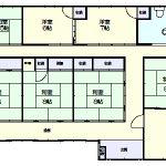 床面積64坪の平屋建て(間取)