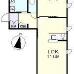 1階角部屋の1LDK(間取)