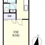 南向きの洋室8.5帖(間取)